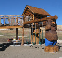 Playgrounds with Carved Wood Bears & Playhouse